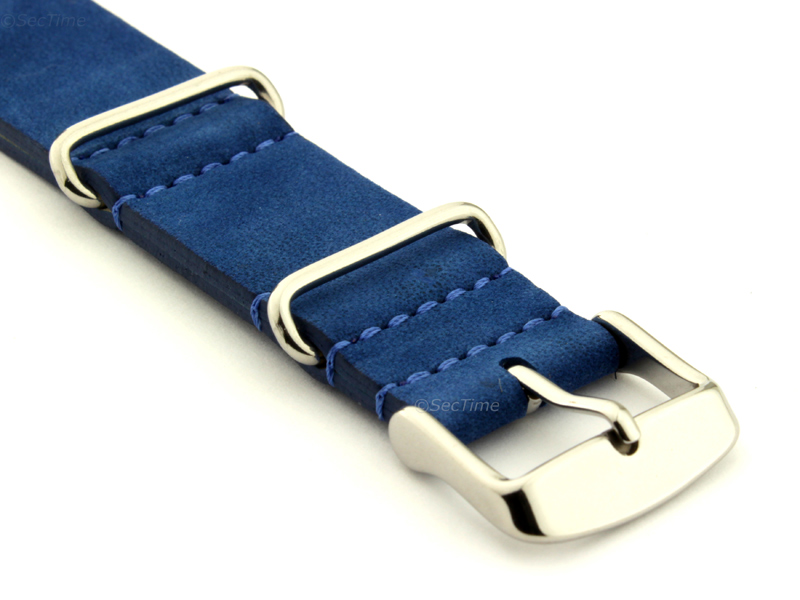 Suede Leather Nato Watch Strap Blue 03