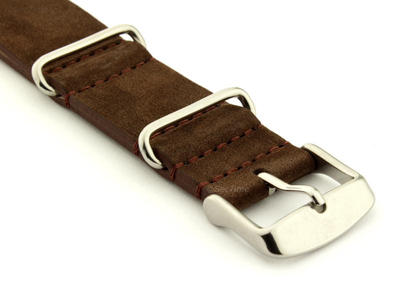 Suede Leather Nato Watch Strap Dark Brown 03