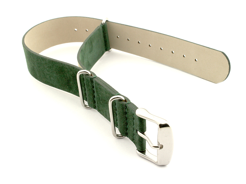 Suede Leather Nato Watch Strap Green 01