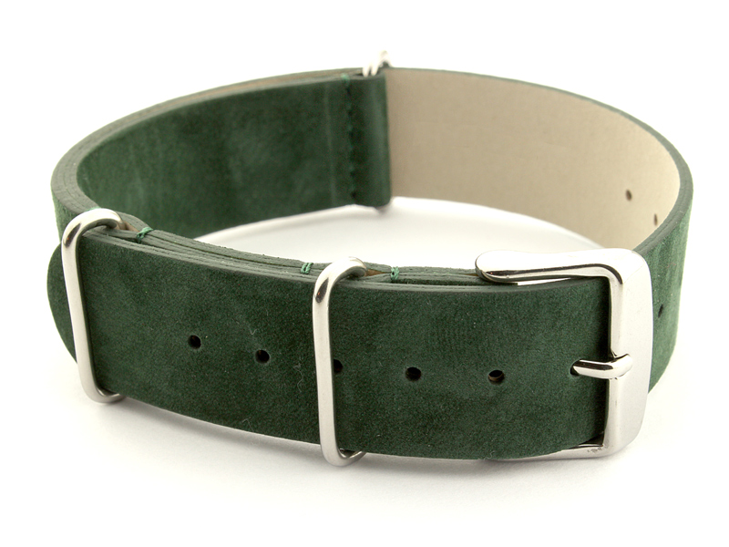 Suede Leather Nato Watch Strap Green 02