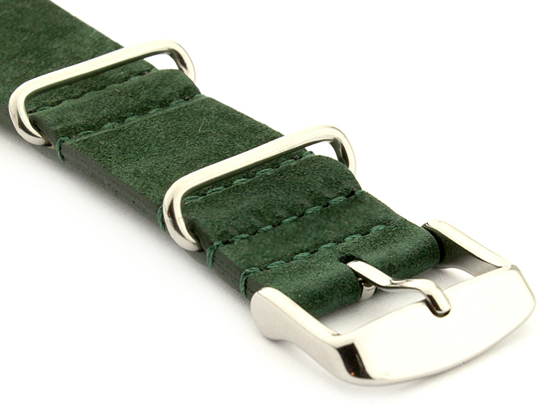 Suede Leather Nato Watch Strap Green 03