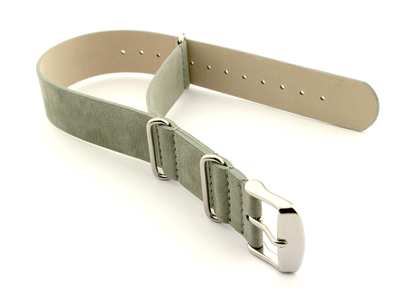 Suede Leather Nato Watch Strap Grey 01