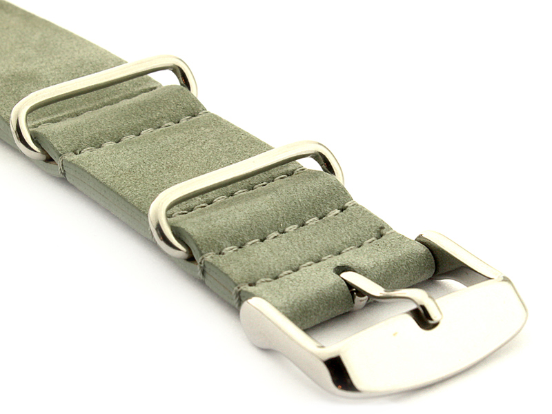 Suede Leather Nato Watch Strap Grey 03