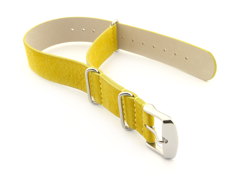 Suede Leather Nato Watch Strap Yellow 01