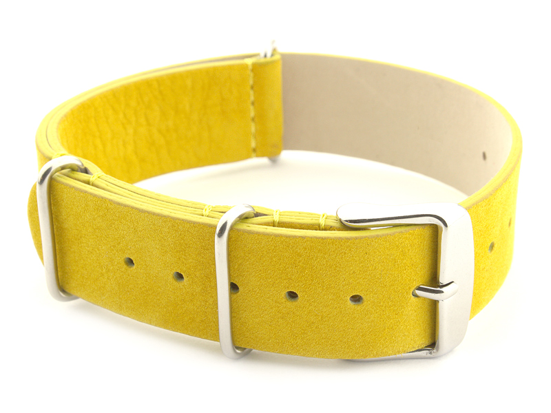 Suede Leather Nato Watch Strap Yellow 02