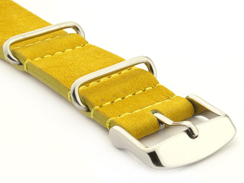 Suede Leather Nato Watch Strap Yellow 03