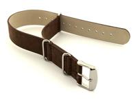 Suede Leather Nato Watch Strap Dark Brown 01