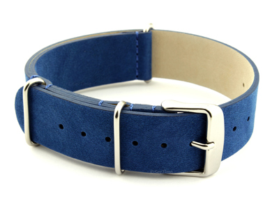 Suede Leather Nato G10 Military Watch Strap Blue 18mm