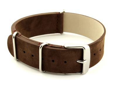 Suede Leather Nato Watch Strap Dark Brown 02