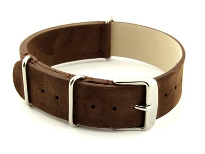 Suede Leather Nato Watch Strap Dark Brown 02