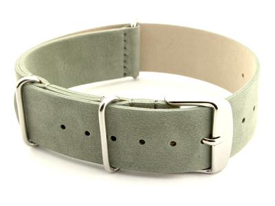 Suede Leather Nato G10 Military Watch Strap Grey 20mm