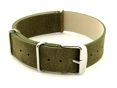 Suede Leather Nato G10 Military Watch Strap Olive Green 20mm