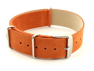 Suede Leather Nato G10 Military Watch Strap Orange 18mm