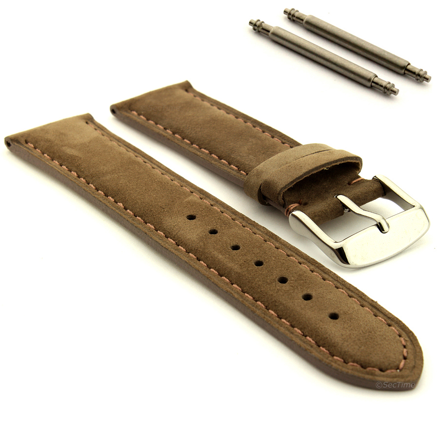 Suede genuine leather watch strap band teacher stainless steel buckle and bars ebay for Leather strap watches