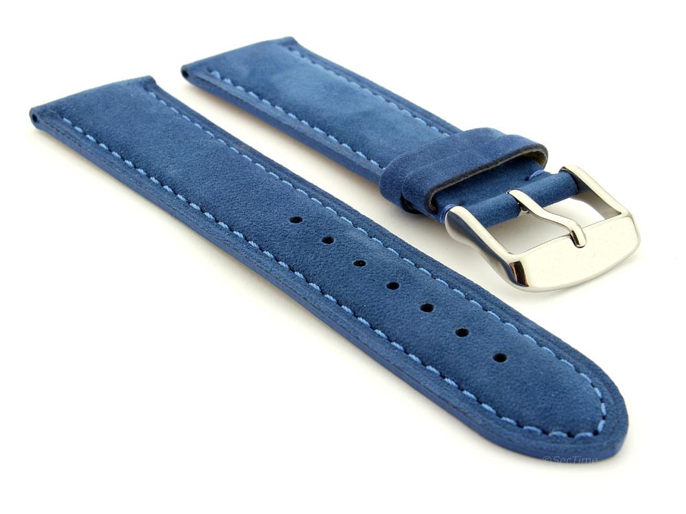Suede Genuine Leather Watch Strap Teacher Blue 01