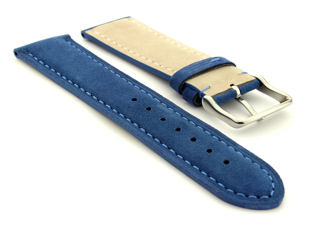 Suede Genuine Leather Watch Strap Teacher Blue 02