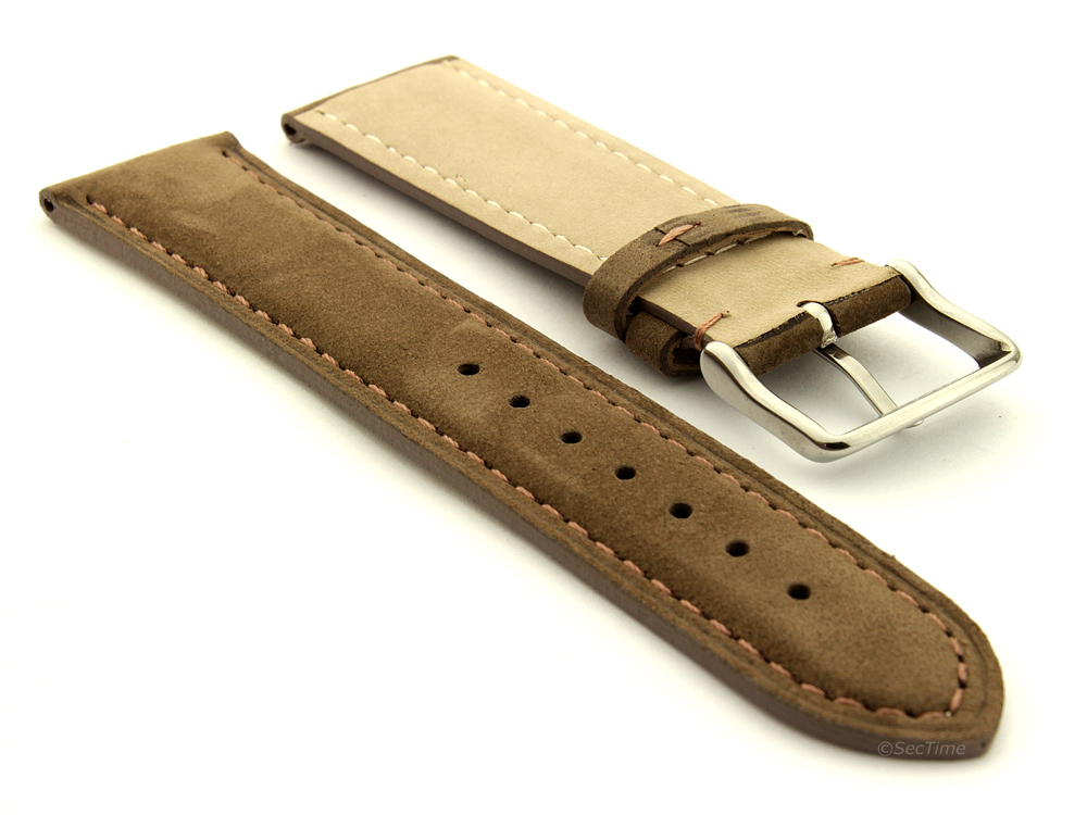 Suede Genuine Leather Watch Strap Teacher Coyote Brown 02