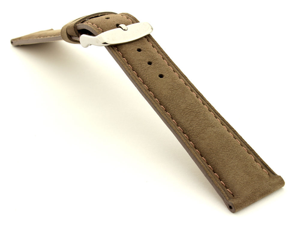 Suede Genuine Leather Watch Strap Teacher Coyote Brown 03