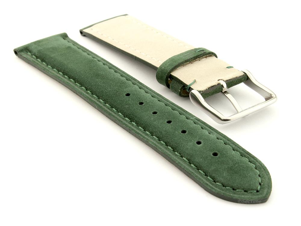 Suede Genuine Leather Watch Strap Teacher Green 02
