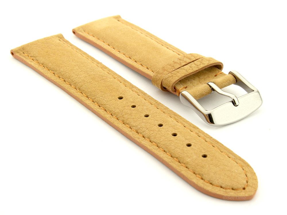 Suede Genuine Leather Watch Strap Teacher Light Brown 01