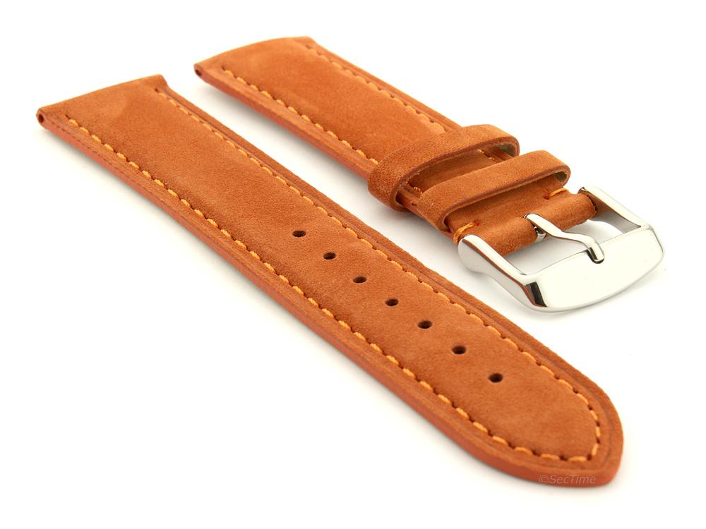 Suede Genuine Leather Watch Strap Teacher Orange 01