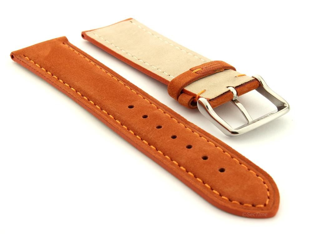 Suede Genuine Leather Watch Strap Teacher Orange 02