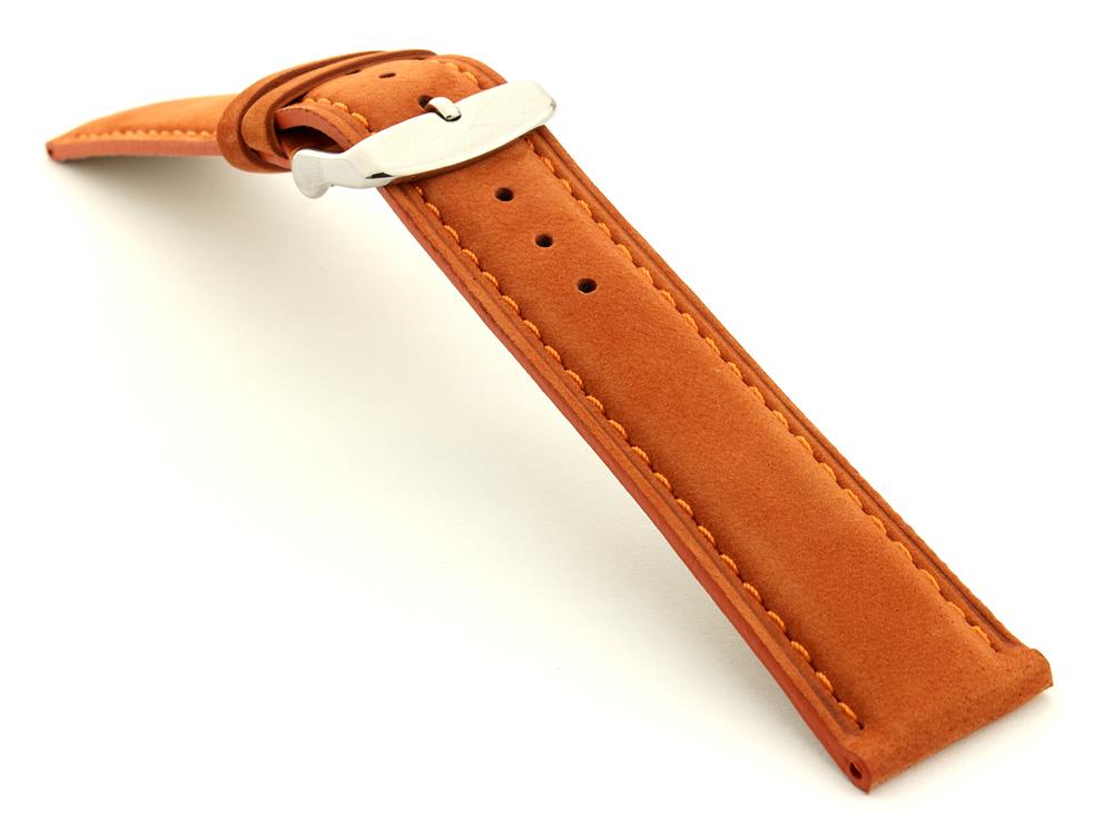 Suede Genuine Leather Watch Strap Teacher Orange 03