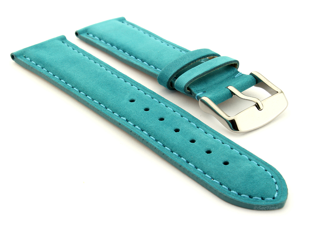 Suede Genuine Leather Watch Strap Teacher Turquoise  01