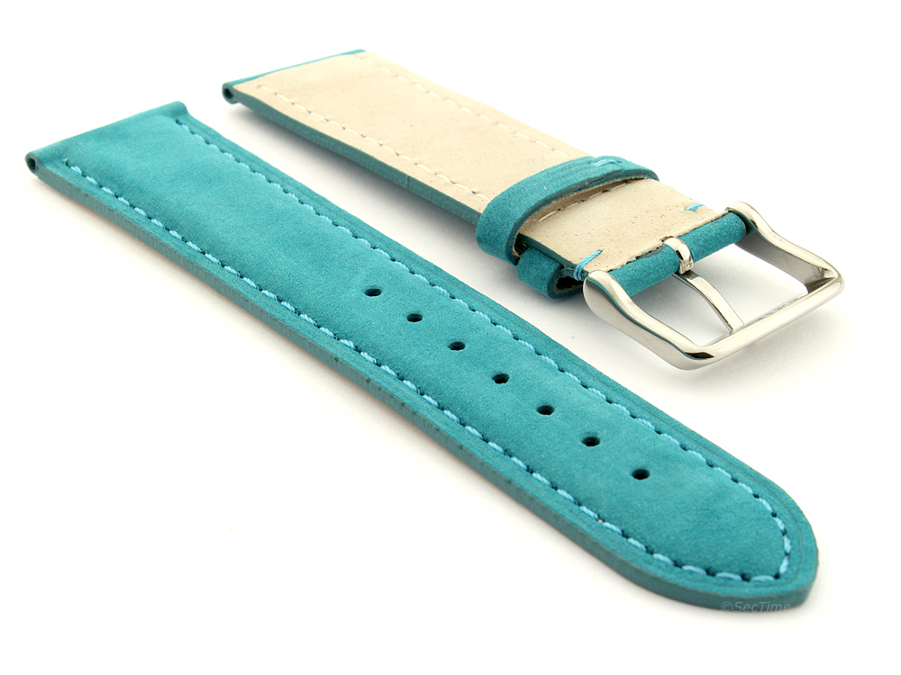 Suede Genuine Leather Watch Strap Teacher Turquoise  02
