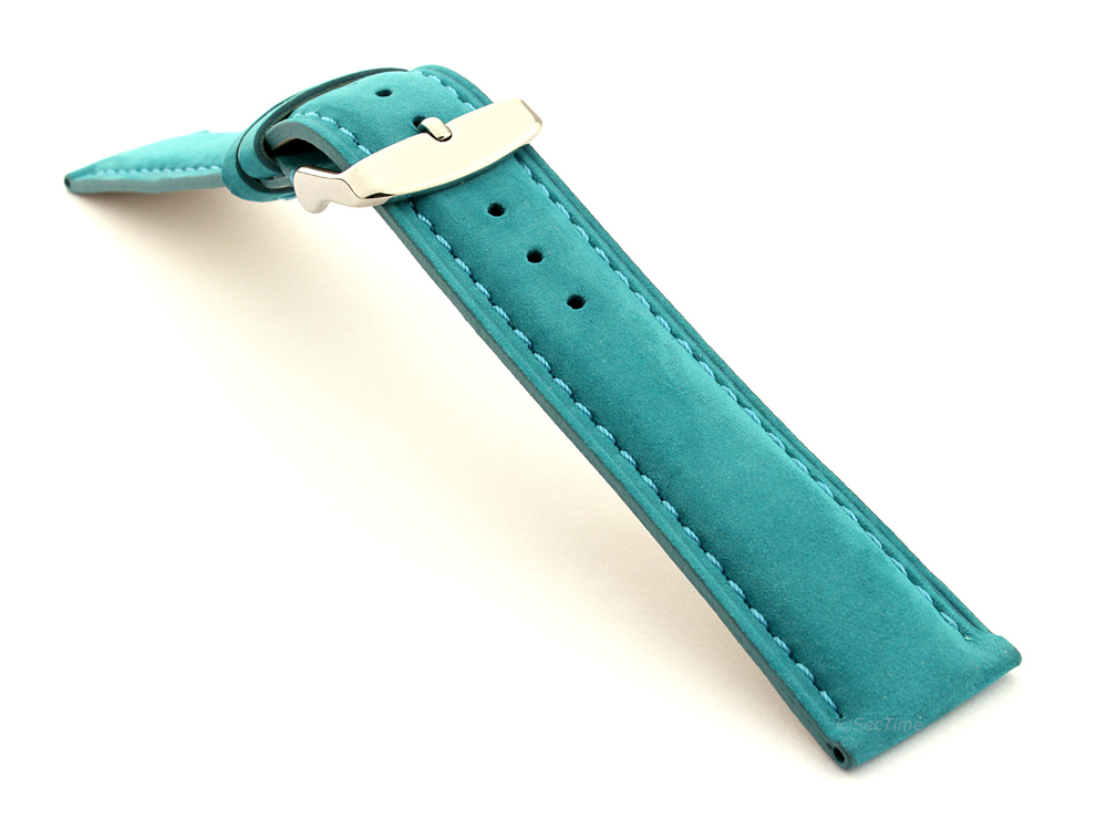 Suede Genuine Leather Watch Strap Teacher Turquoise  03