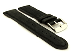 Suede Genuine Leather Watch Strap Teacher Black 19mm