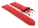 Suede Genuine Leather Watch Strap Teacher Red 19mm