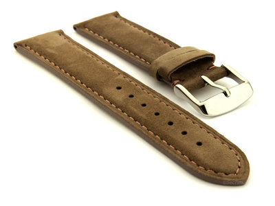 Suede Genuine Leather Watch Strap Teacher Coyote Brown 01