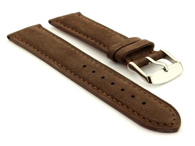 Suede Genuine Leather Watch Strap Teacher Dark Brown 19mm