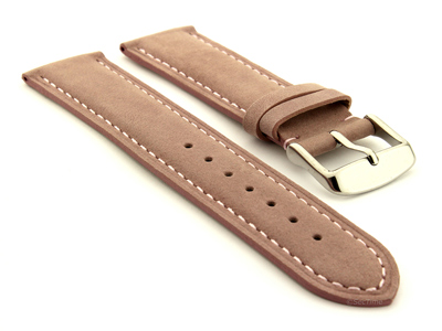 Suede Genuine Leather Watch Strap Teacher Pink 19mm
