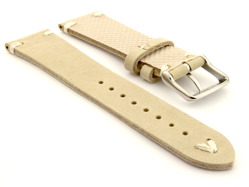 Genuine Leather Watch Strap in Oldfangled Style Texas Beige 02
