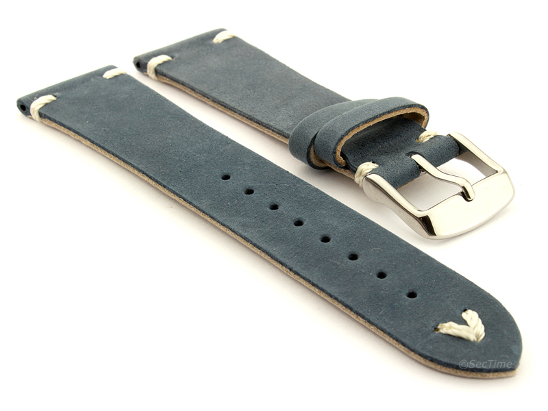 Genuine Leather Watch Strap in Oldfangled Style Texas Blue 01