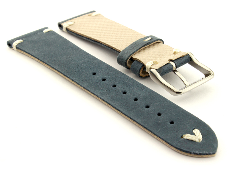 Genuine Leather Watch Strap in Oldfangled Style Texas Blue 02