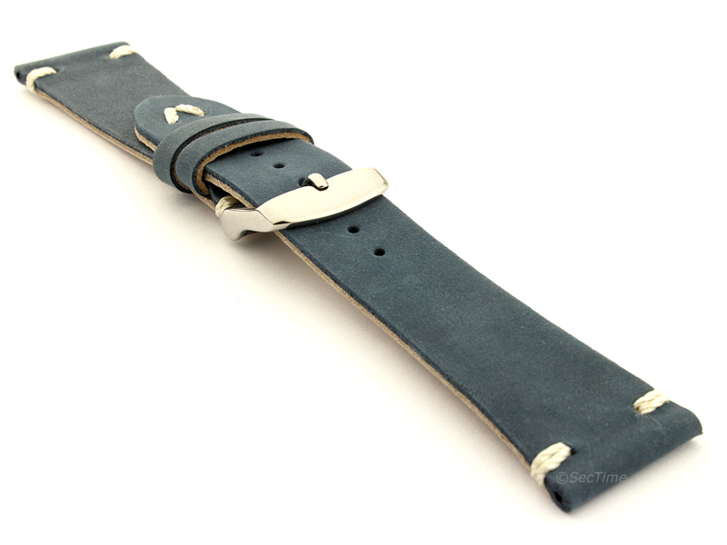 Genuine Leather Watch Strap in Oldfangled Style Texas Blue 03