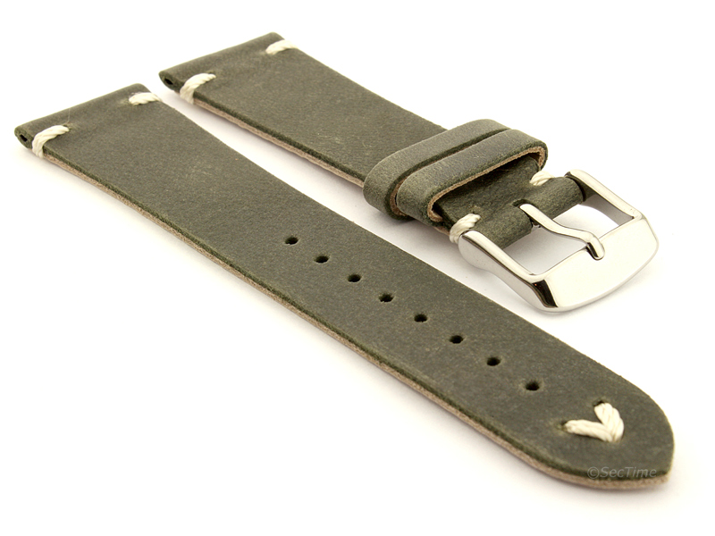 Genuine Leather Watch Strap in Oldfangled Style Texas Olive Green 01