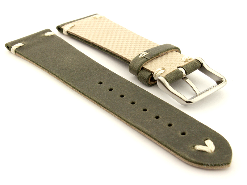 Genuine Leather Watch Strap in Oldfangled Style Texas Olive Green 02