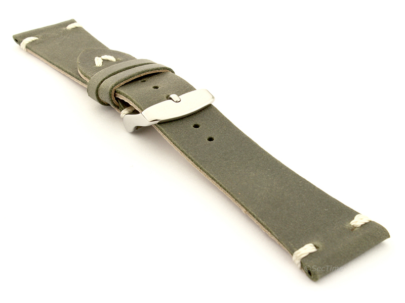 Genuine Leather Watch Strap in Oldfangled Style Texas Olive Green 03