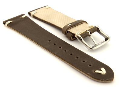Genuine Leather Watch Strap in Oldfangled Style Texas Dark Brown 18mm