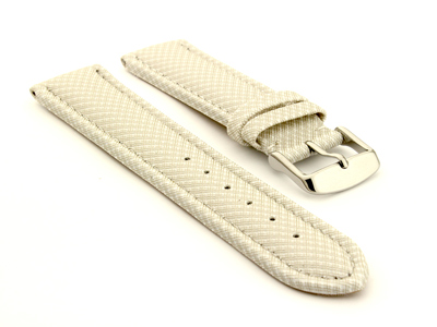 Synthetic Waterproof Watch Strap Toulon White 18mm