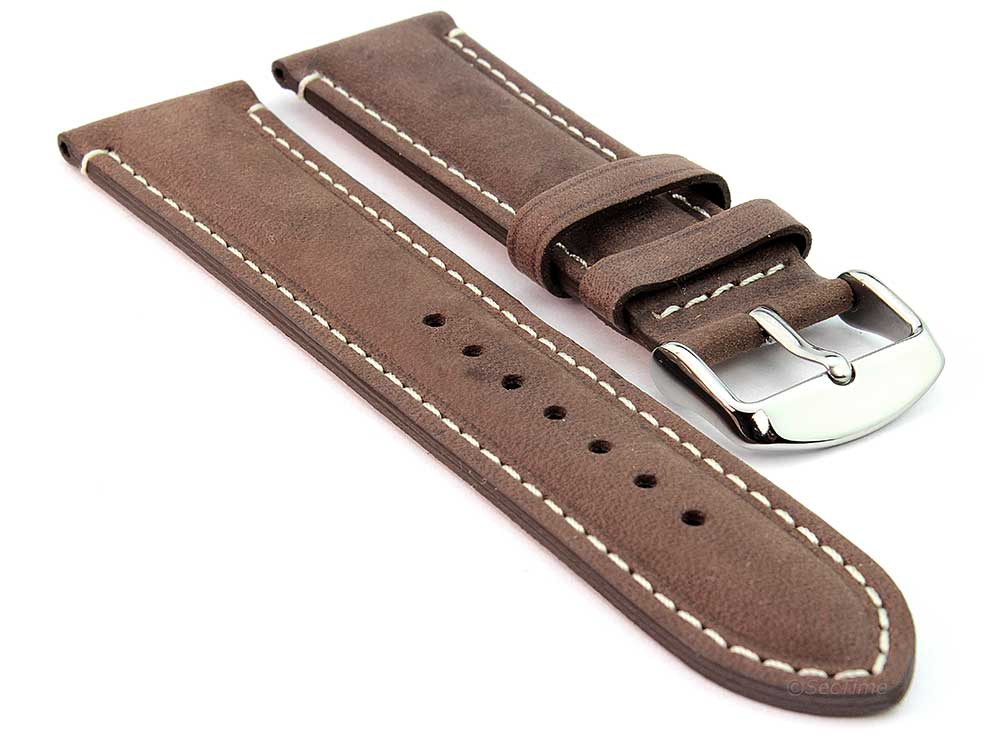 Genuine Leather Watch Strap Band Tourist Dark Brown 01