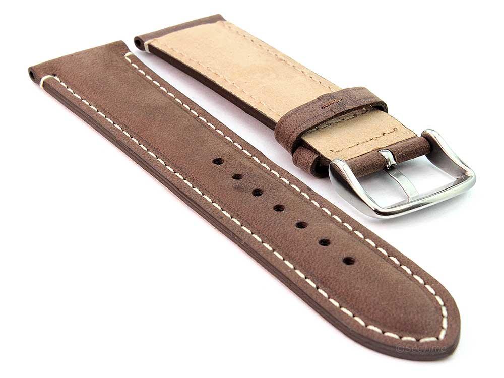 Genuine Leather Watch Strap Band Tourist Dark Brown 02