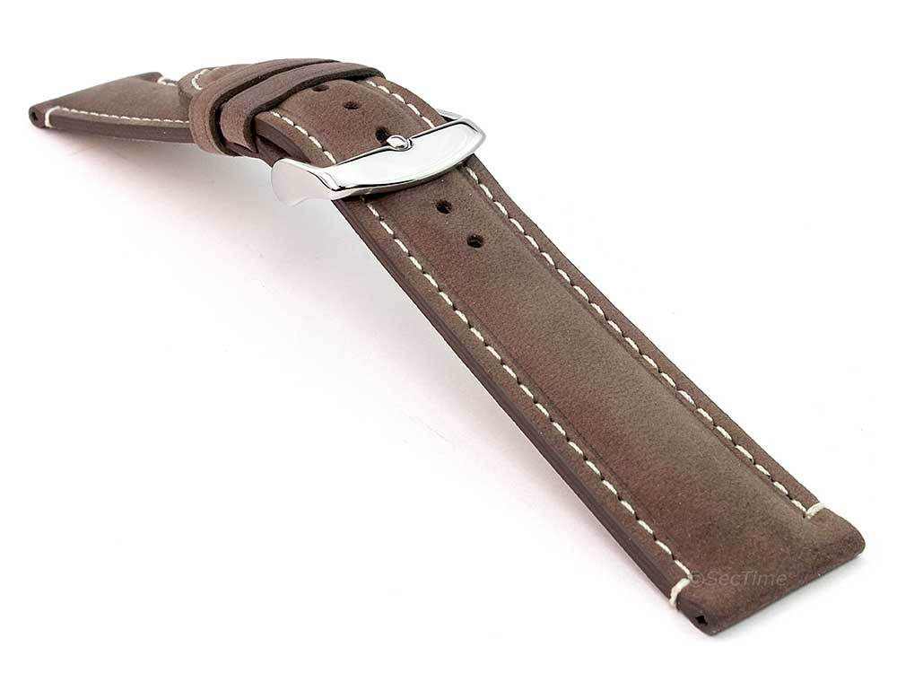 Genuine Leather Watch Strap Band Tourist Dark Brown 03