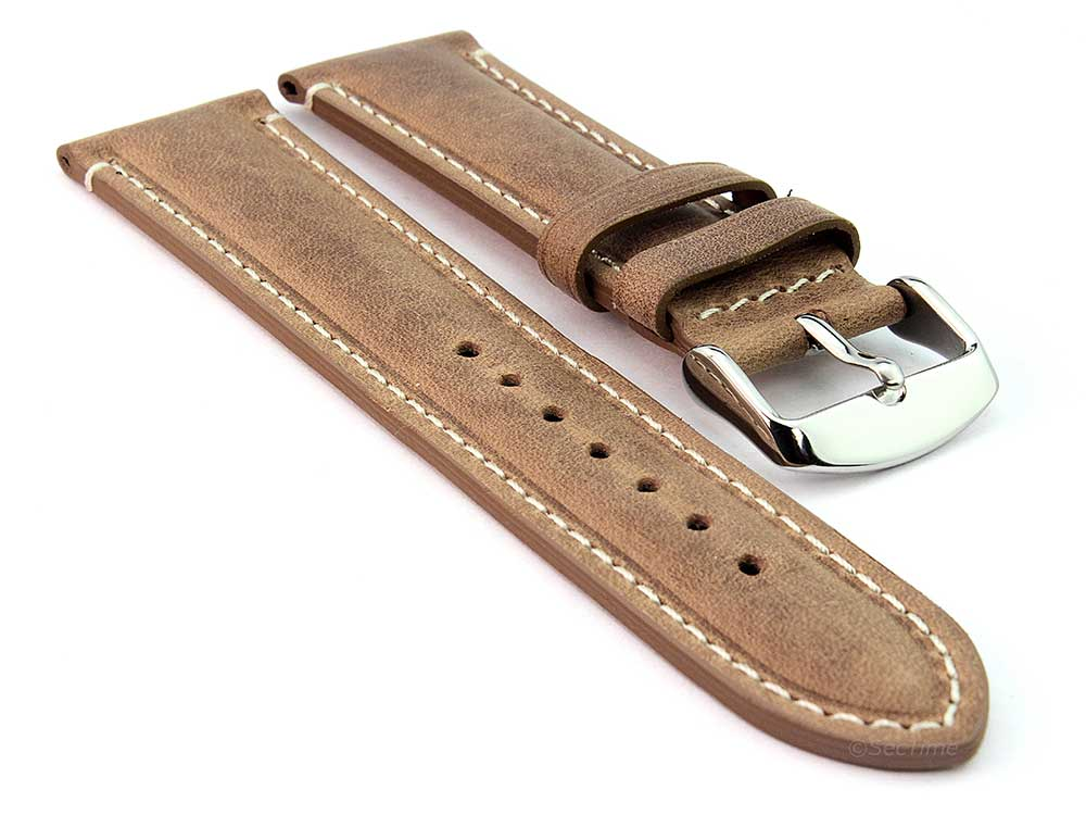 Genuine Leather Watch Strap Band Tourist Brown 01