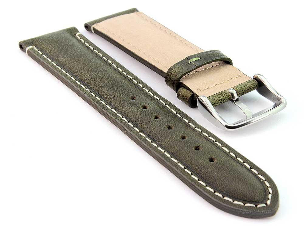 Genuine Leather Watch Strap Band Tourist Green (semi-matte) 02
