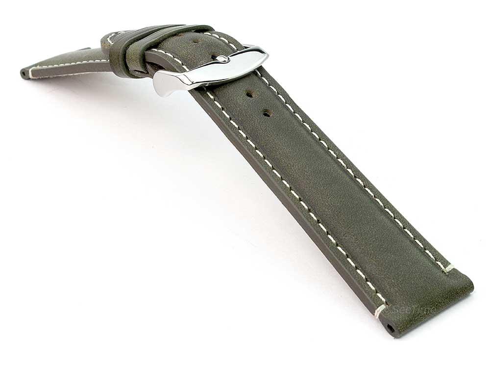 Genuine Leather Watch Strap Band Tourist Green (semi-matte) 03